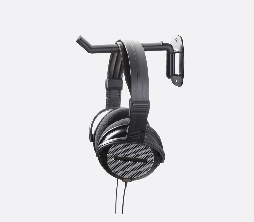 K m 16320 headphone holder wall mount swivelling black - Wall mount headphone holder ...