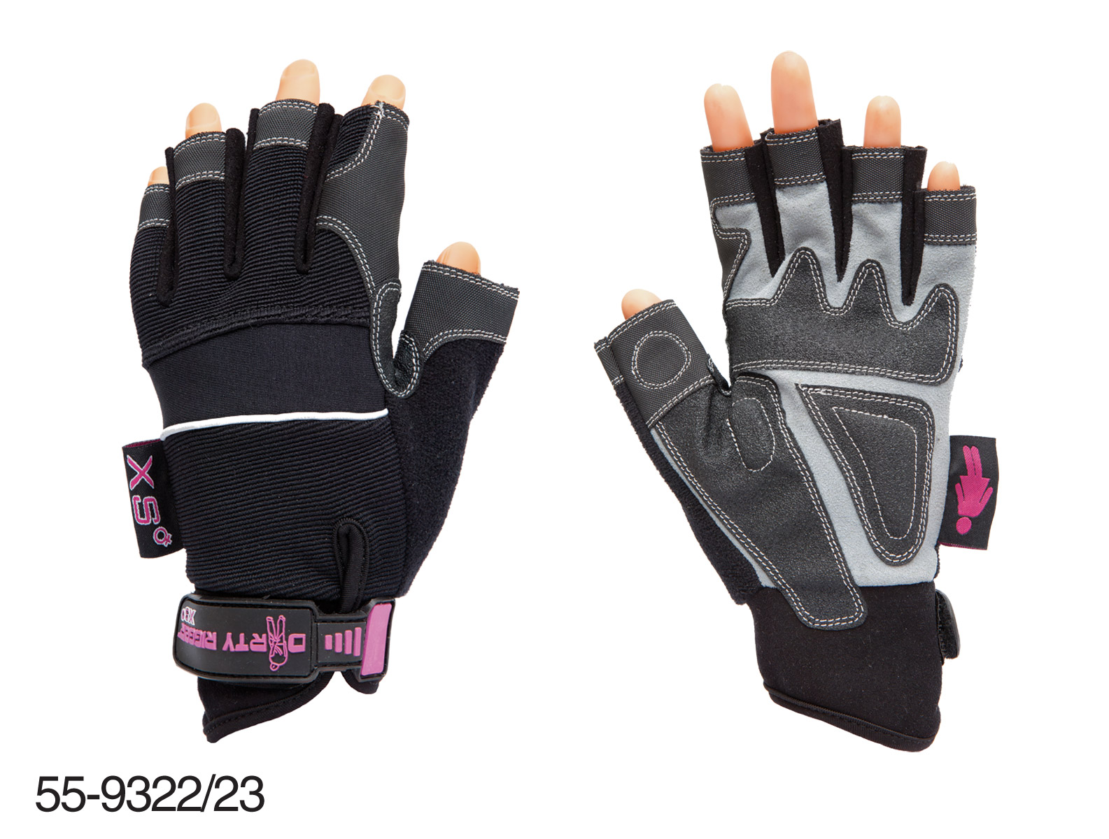 DIRTY RIGGER XS WOMANS GLOVES Fingerless, extra small (pair)