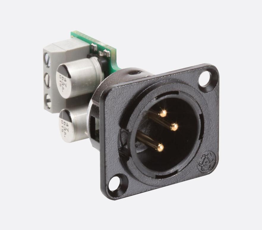 RDL AMS-XLRMA MODULE 3-pin male XLR connector, selectable mic/line level,  55Vdc phantom block