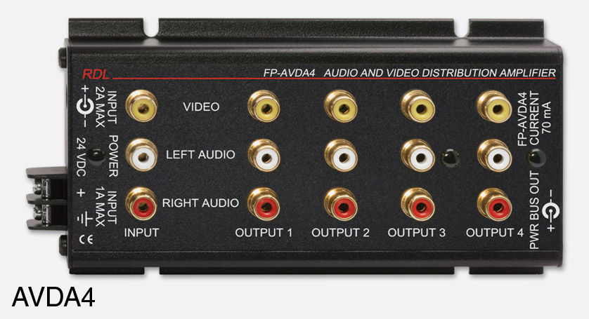 rdl fp avda4 distribution amplifier audio and video, stereo, 1x4rdl fp avda4 distribution amplifier audio and video, stereo, 1x4, rca (phono) i o