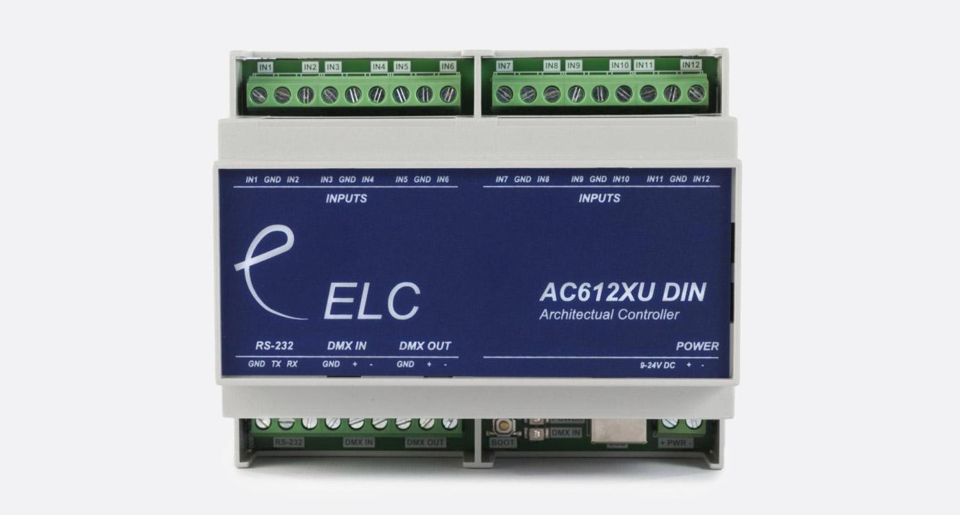 ELC LIGHTING AC612DIN DMX CONTROLLER 12x 512 DMX channel memory, DIN-rail  connections, USB