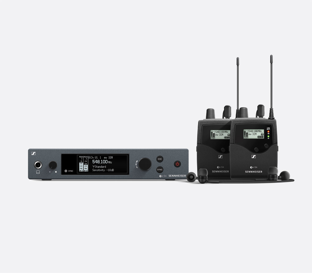 Sennheiser Ew Iem G4 Twin In Ear Monitor System 1x Fixed Tx 2x Transmitter And Receiver Infra Red Headphone Beltpack Rx 606 648mhz Ch 38