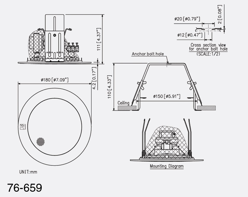 Toa Pc 1869s Loudspeaker Circular Ceiling 0 4 6w Taps