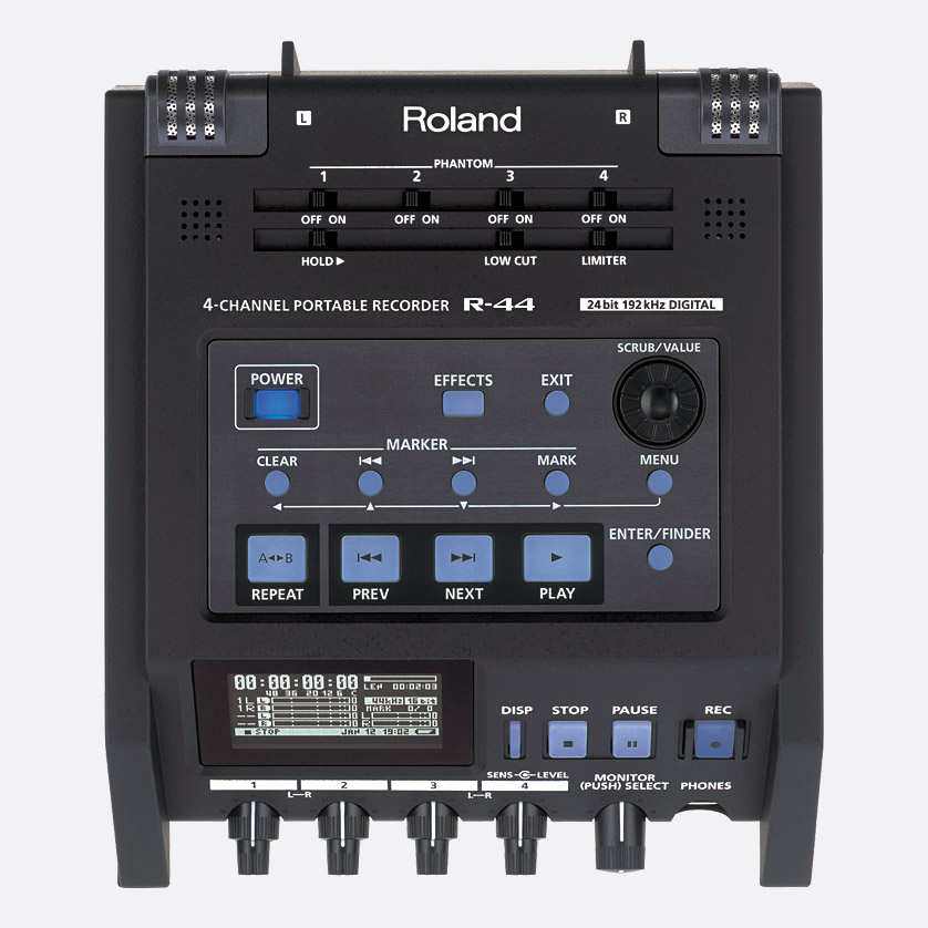 roland r 44 portable location recorder for sd sdhc card 4x channel phantom. Black Bedroom Furniture Sets. Home Design Ideas