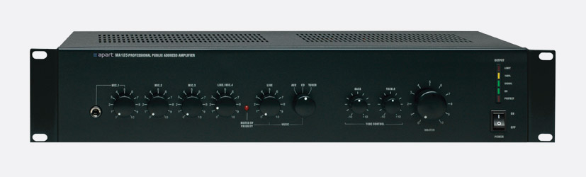 APART MA125 MIXER AMPLIFIER 125W/8, 50V, 70V, 100V, 4 mic in, 4 line in, 1  zone out, 2U