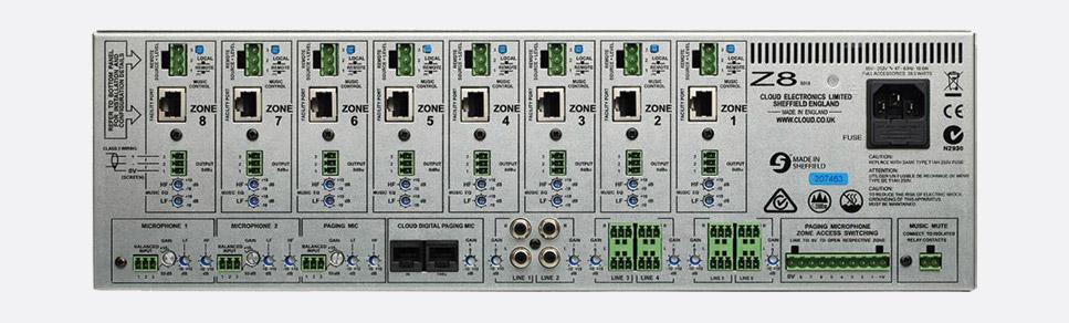 Cloud Z8mk4 Mixer 2x Microphone 6x Stereo Paging Input