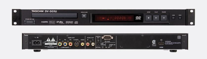 Tascam Dv D01u Dvd Player Audio And Hdmi Analogue Optical Rs232 1u Rackmount