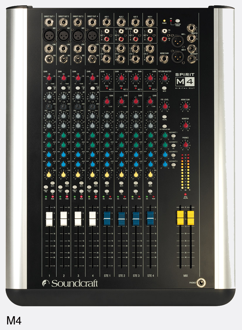 soundcraft m4 mixer stereo, 4 microphone line, 3 stereo inputs