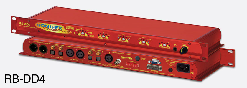 SONIFEX RB-DD4 DELAY SYNCHRONISER Digital audio, 4 channel, AES, S/PDIF,  Toslink in, out, 1U
