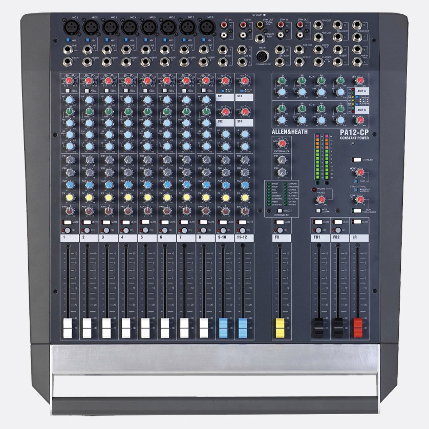 allen heath pa12 cp mixer amplifier 8x mono 2x stereo 1 x fx in l r 4x aux 2x500w 8 out. Black Bedroom Furniture Sets. Home Design Ideas