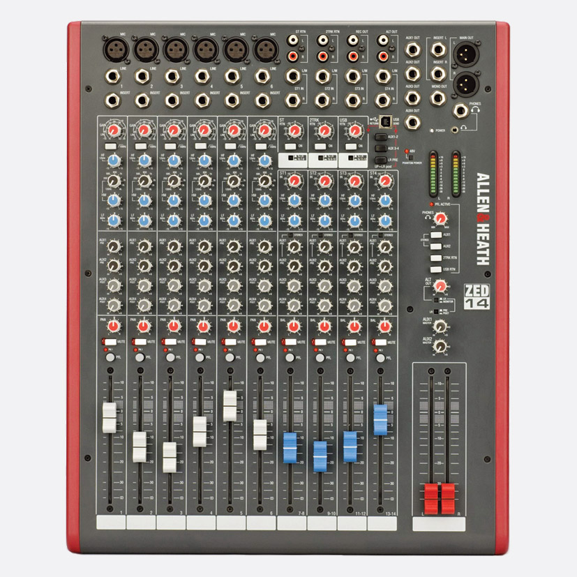 allen heath zed 14 mixer 6x mic line 4x stereo no fx usb i o l r 4x aux out software. Black Bedroom Furniture Sets. Home Design Ideas