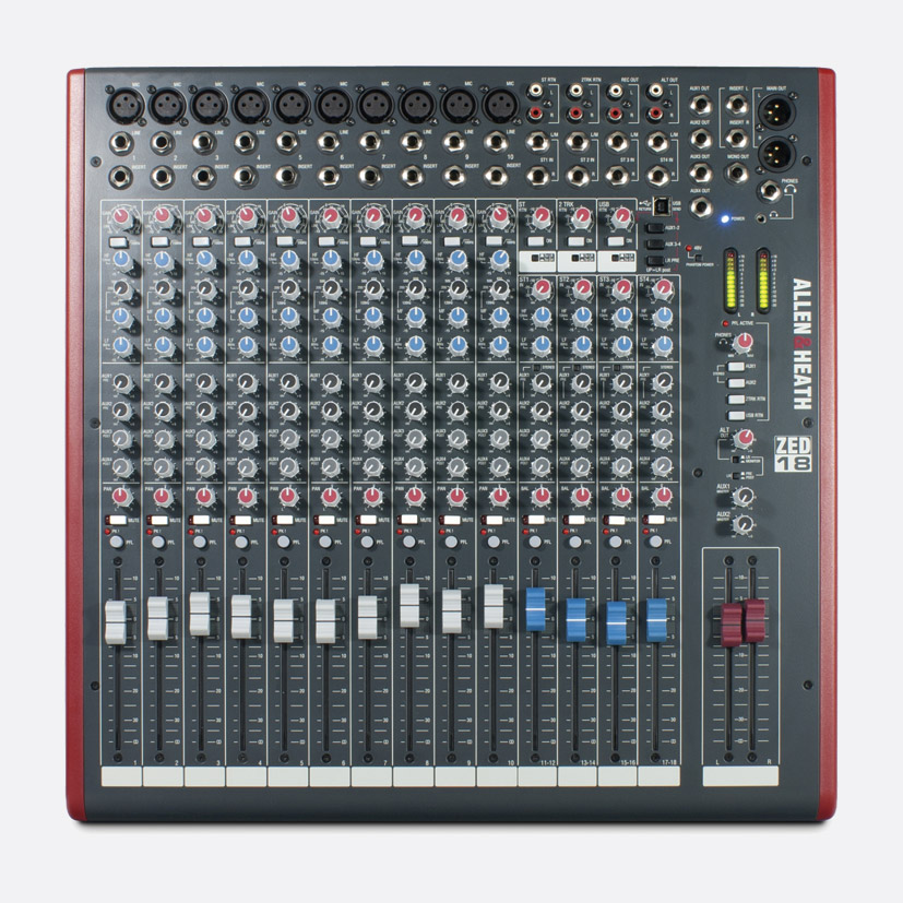 allen heath zed 18 mixer 10x mic line 4x stereo no fx usb i o l r 4x aux out software. Black Bedroom Furniture Sets. Home Design Ideas