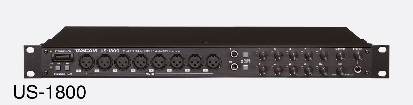 tascam us 1800 usb audio interface 8x mic 6x line in s pdif midi i o 4x line monitor out. Black Bedroom Furniture Sets. Home Design Ideas