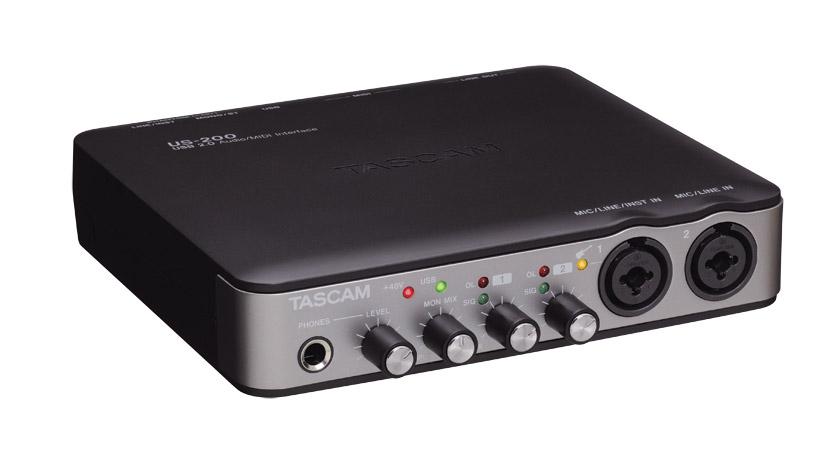 tascam us 200 usb audio interface 2x mic line in midi i o phantom monitor out. Black Bedroom Furniture Sets. Home Design Ideas