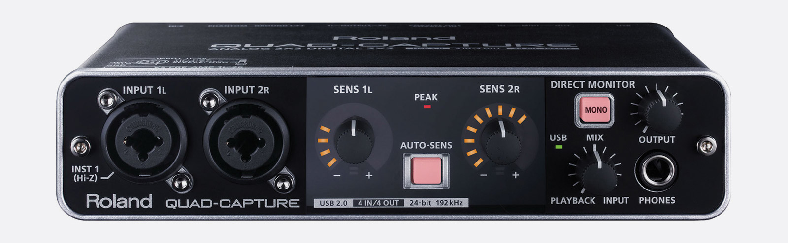 Roland Ua 55 Quad Capture Usb Audio Interface 2x Mic Instrument In Stereo Mixer For Microphone With 2 Channels S Pdif Midi I O Phantom
