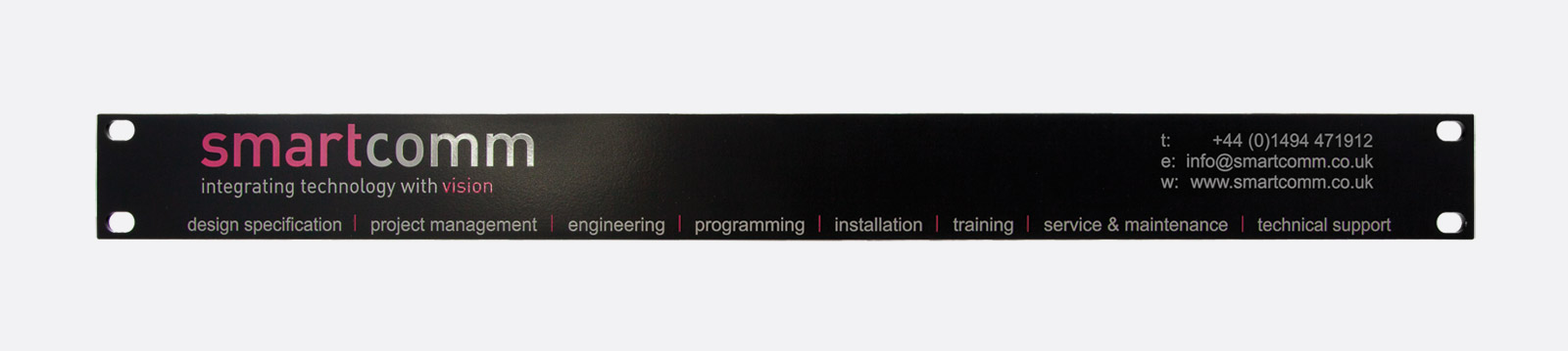 CANFORD RACK BLANK PANEL 1U, steel, black, with custom 1 colour print