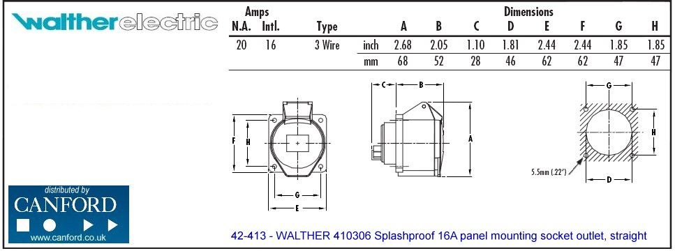 Walther 410306 splashproof 16a panel mounting socket outlet straight asfbconference2016 Images
