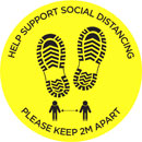SOCIAL DISTANCING FLOOR STICKER Please keep 2 metres apart, footprint graphics, yellow