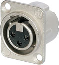 NEUTRIK NC3FD-LX-0 XLR Female panel connector, nickel shell, silver contacts, no latch