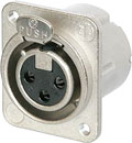 NEUTRIK NC3FD-LX-M3 XLR Female panel connector, nickel shell, silver contacts, M3 holes