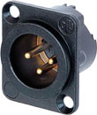 NEUTRIK NC3MD-LX-B XLR Male panel connector, black shell, gold contacts