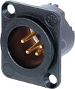 NEUTRIK NC4MD-LX-B XLR Male panel connector, black shell, gold contacts