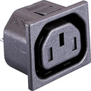 BULGIN PX0783/15/28 IEC MAINS CONNECTOR C13 type, female, panel, shuttered, snap-in fixing