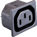 BULGIN PX0695/15/28 IEC MAINS CONNECTOR C13 type, female, panel, un-shuttered, snap-in fixing