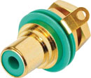 REAN NYS367-5 RCA (PHONO) PANEL SOCKET Gold contacts, green ring