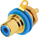 REAN NYS367-6 RCA (PHONO) PANEL SOCKET Gold contacts, blue ring