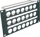 CANFORD UNIVERSAL CONNECTION PANEL KIT Half rack width, 3U 3x7, grey
