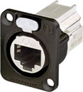 NEUTRIK NE8FDX-P6-B ETHERCON CAT6A Panel mounting, shielded, feedthrough, black