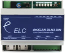 ELC LIGHTING DMXLAN NODE3 DIN DMX NODE 3x DMX ports, 2x Ethernet ports, DIN-rail, isolated
