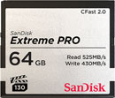 SANDISK SDCFSP-064G-G46D EXTREME PRO 64GB CFAST 2.0 MEMORY CARD, 525MB/s read, 430MB/s write
