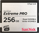SANDISK SDCFSP-256G-G46D EXTREME PRO 256GB CFAST 2.0 MEMORY CARD, 525MB/s read, 450MB/s write