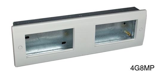 RPP EASYCLIP FACEPLATE 4G8MP 4-gang, 4 full modules, white plastic, contoured.