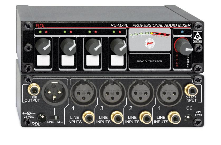 RDL RU-MX4LT MIXER Mono, 4 line inputs, Max Rack-up